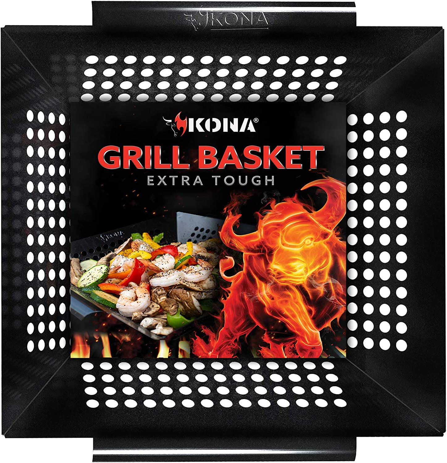 AGOOBO Grill Basket Kabob,or Pizza Stainless Steel BBQ Vegetable Grilling Basket for Grilling Veggies Meat Fish