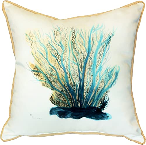 Betsy Drake Blue Coral Pillow, 18 x 18