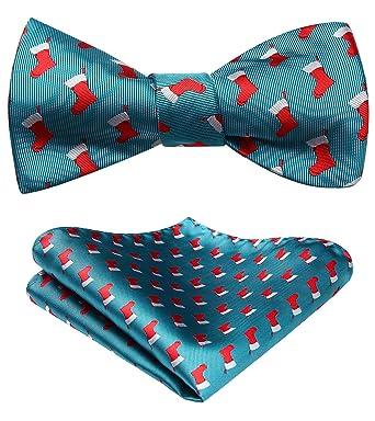 61d116d22da8 HISDERN Men's Christmas Sock Woven Party Self Bow Tie Pocket Square Set