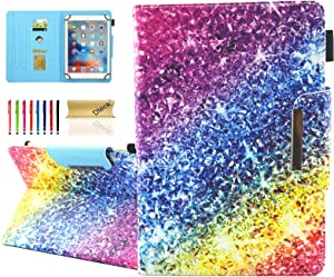 Dteck Universal Case for 9.5-10.5 Inch Tablet - PU Leather Stand Wallet Case Cover for Apple iPad/Samsung Tab/Kindle Fire/Lenovo/Huawei MediaPad/Asus Zenpad 9.7 10 10.1 10.5 Inch Tablet-Rainbow Sand