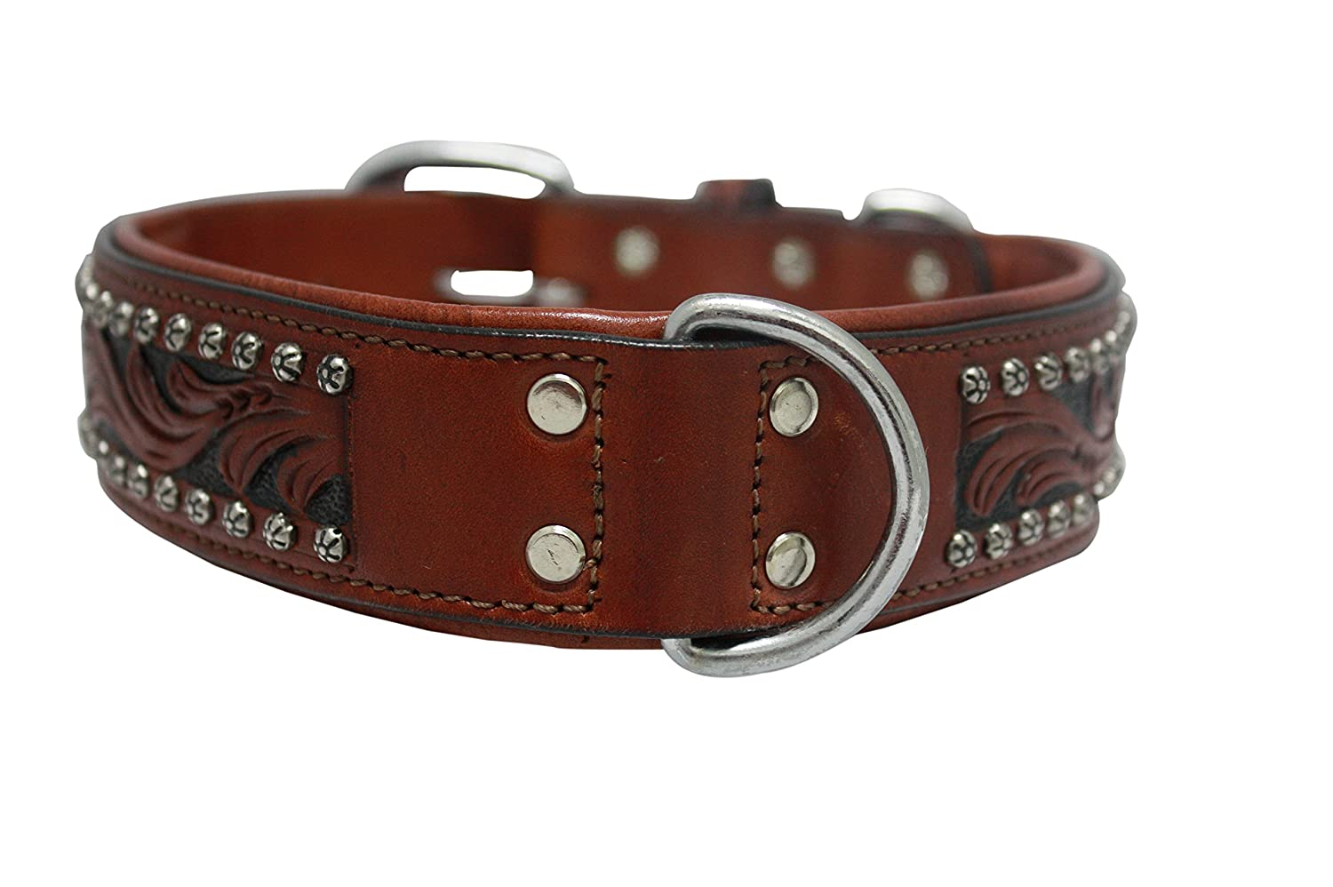 Leather Dog Collar. 22  x 1.5 , Western Tooled in Brown Black Inlay, Hand-Carved, silverinean Cowhide. Stainless Steel. (MESA) Necks 16.5 -20