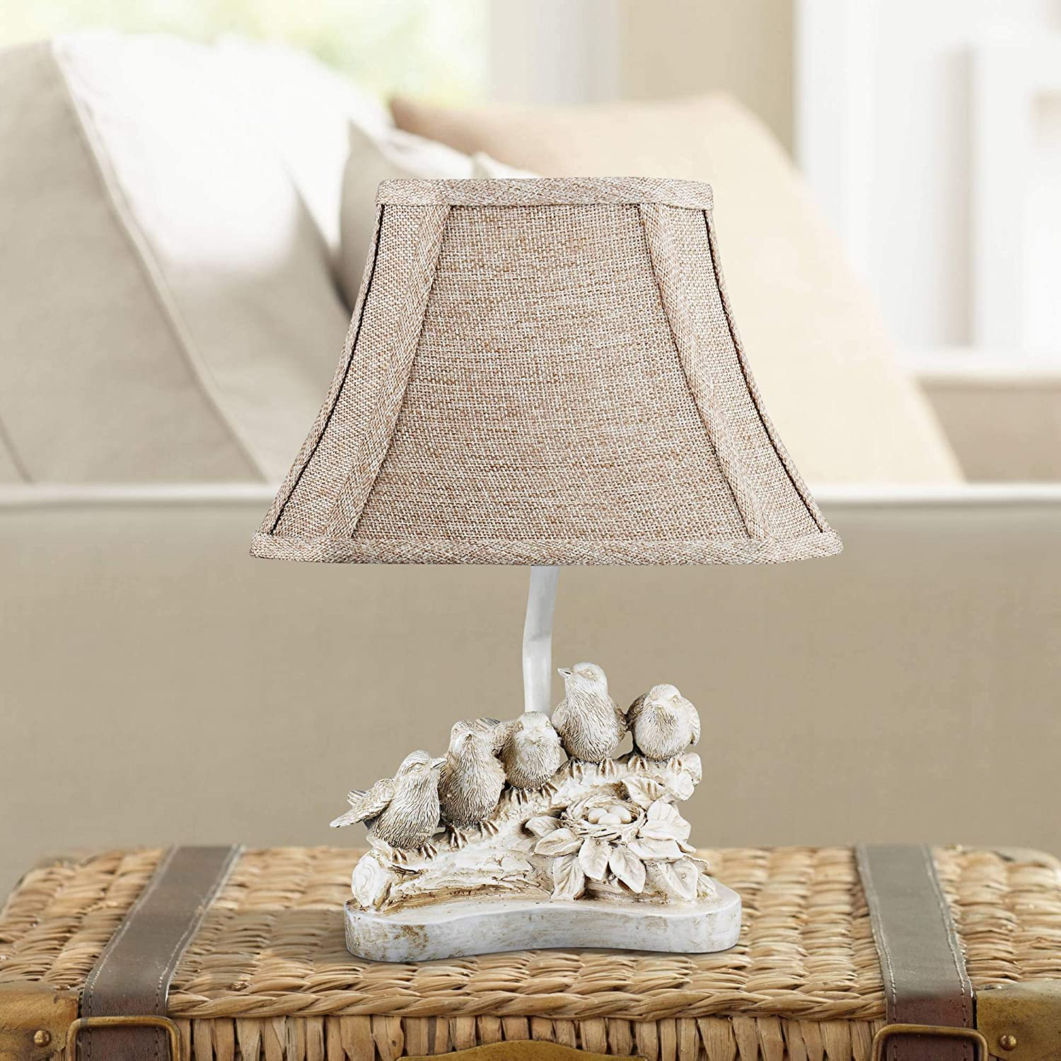 Rubbed White Birds in a Row Small Sculpture Side Lamp with Hessian ShadeSmall Moss Green Wood Casual Accent Table Lamp