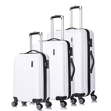 TravelCross Berkeley Classic Luggage Lightweight Spinner Set - White, 3 piece (20''/ 24''/ 28'')