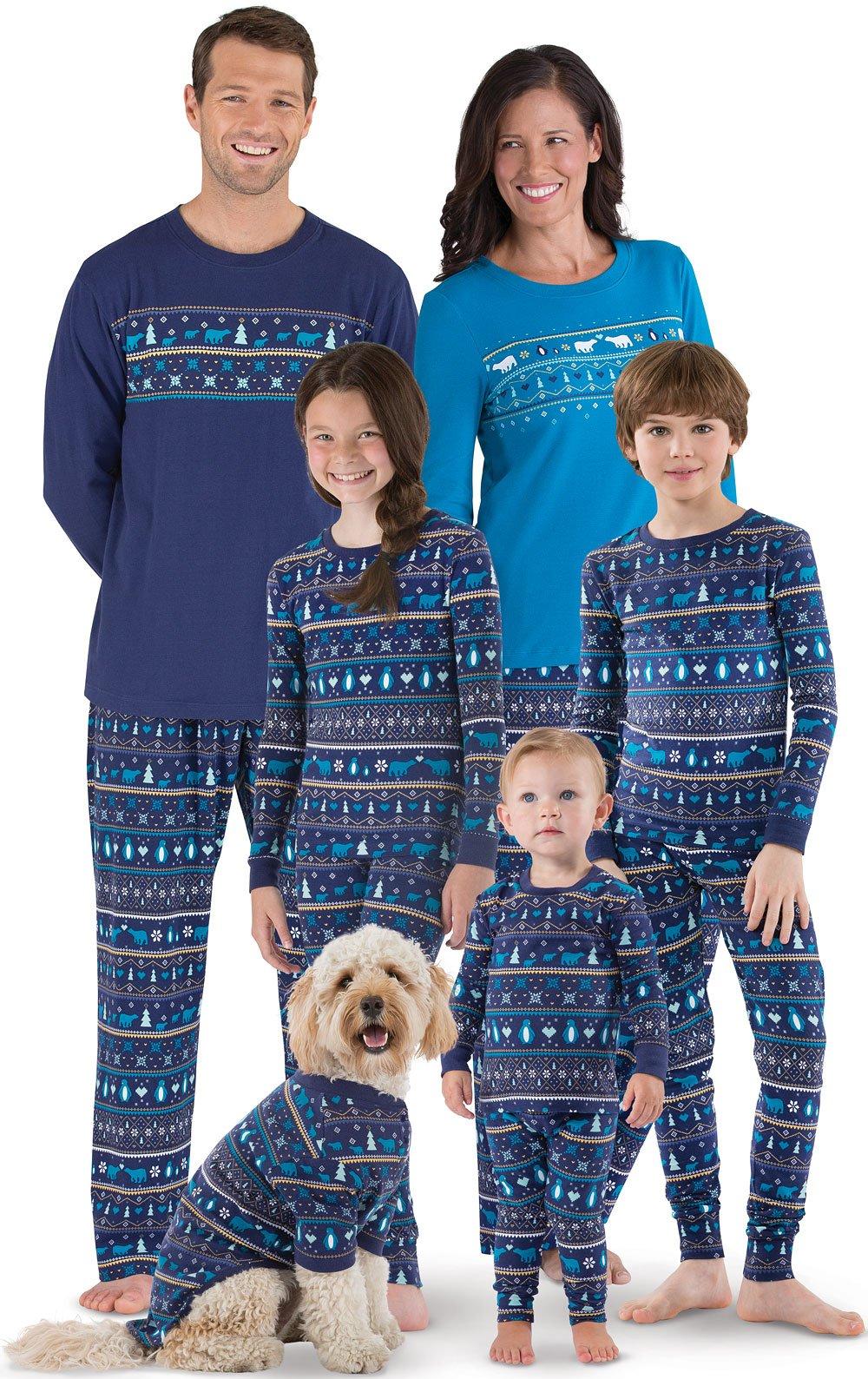 82b131f624 PajamaGram Family Holiday Pajamas Cotton - Peace On Earth, Navy, Kids, 14