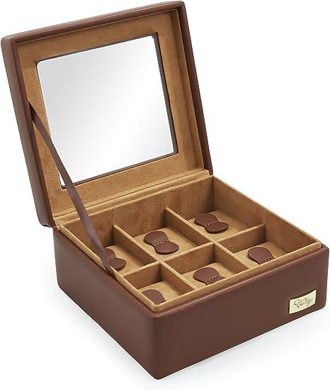 CORDAYS - Estuche Relojero para 6 Relojes con Vitrina de Cristal Hecho a Mano en Color Cognac CDL-10002: Amazon.es: Relojes