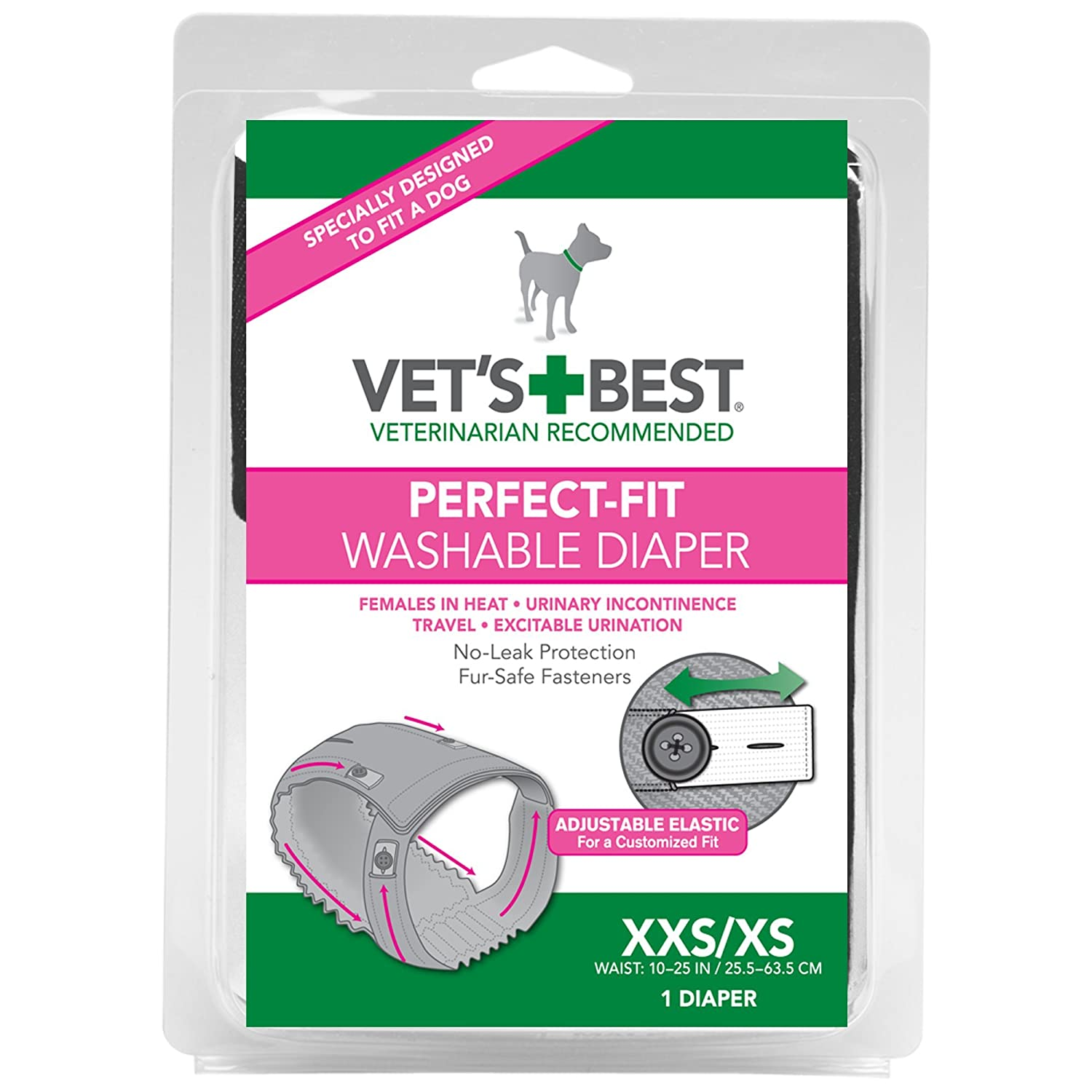 Amazon Vets Best Washable Female Diaper Xxsxs Pet Supplies