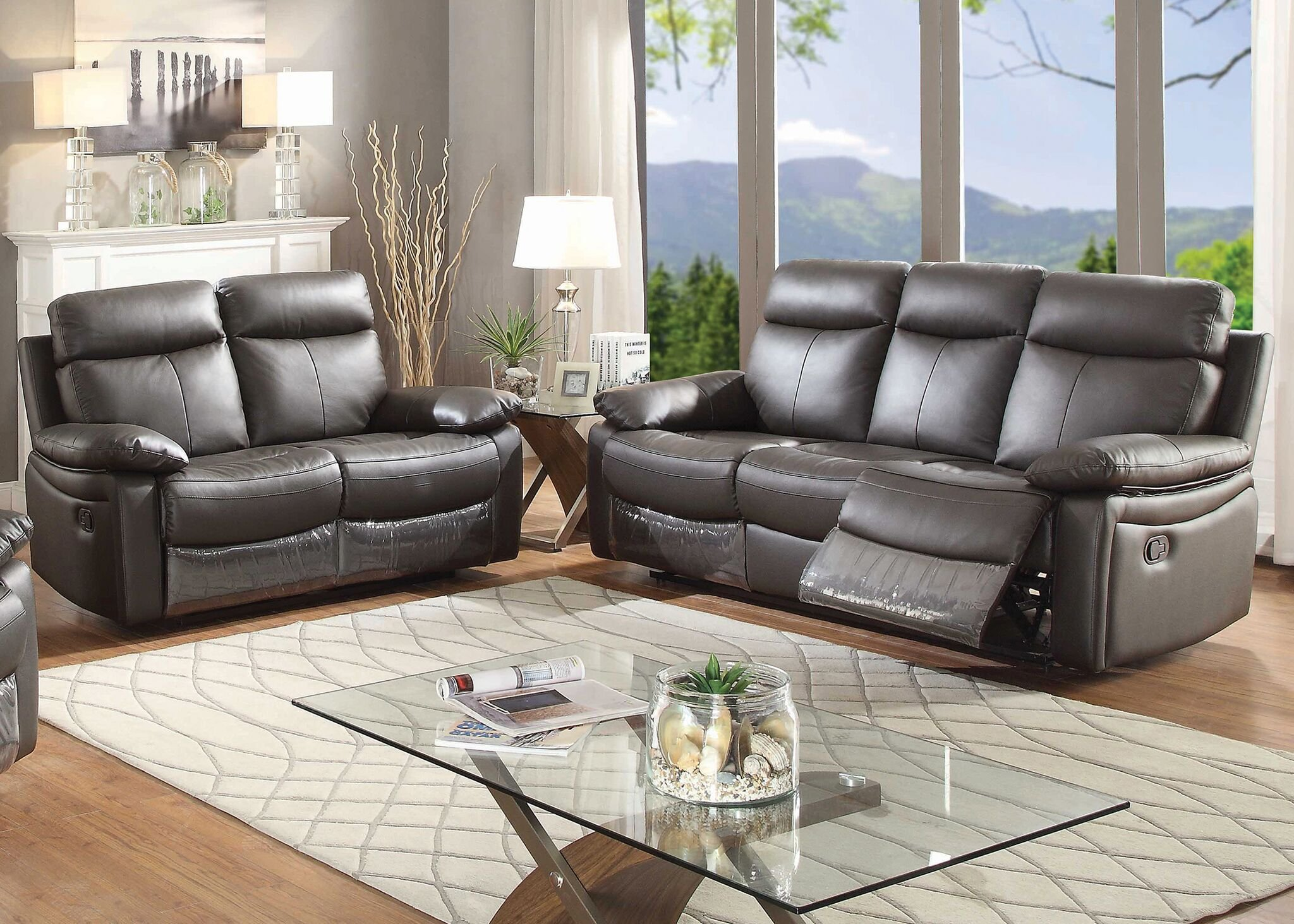AC Pacific Ryker Collection Contemporary 2-Piece Upholstered Leather Living Room Set with Reclining Sofa and Loveseat, Dark Brown by AC Pacific