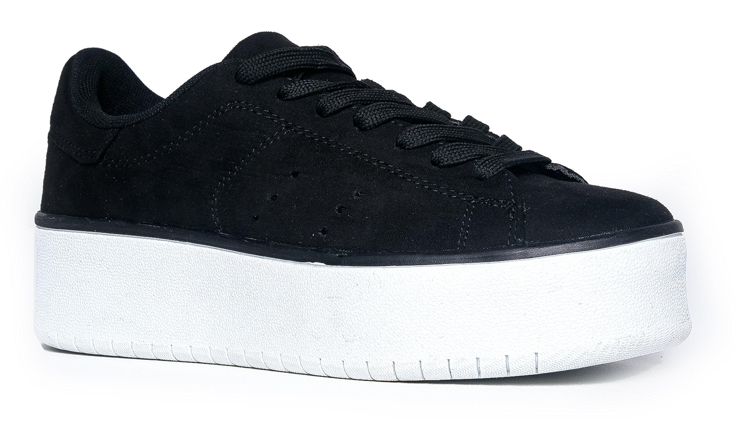 ebc6a4f73a Galleon - J. Adams Hero Platform Lace Up Sneaker Black Suede, 9 B(M) US