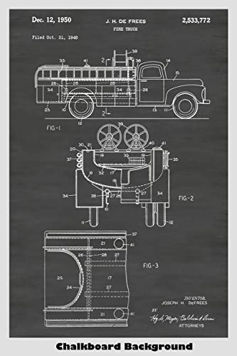 amazon com vintage fire truck poster patent print art poster Fire Engine Diagram for Students image unavailable image not available for color vintage fire truck
