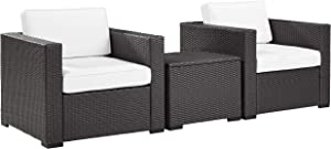 Crosley Furniture Biscayne 3-Piece Outdoor Wicker Conversation Set, Brown with White Cushions