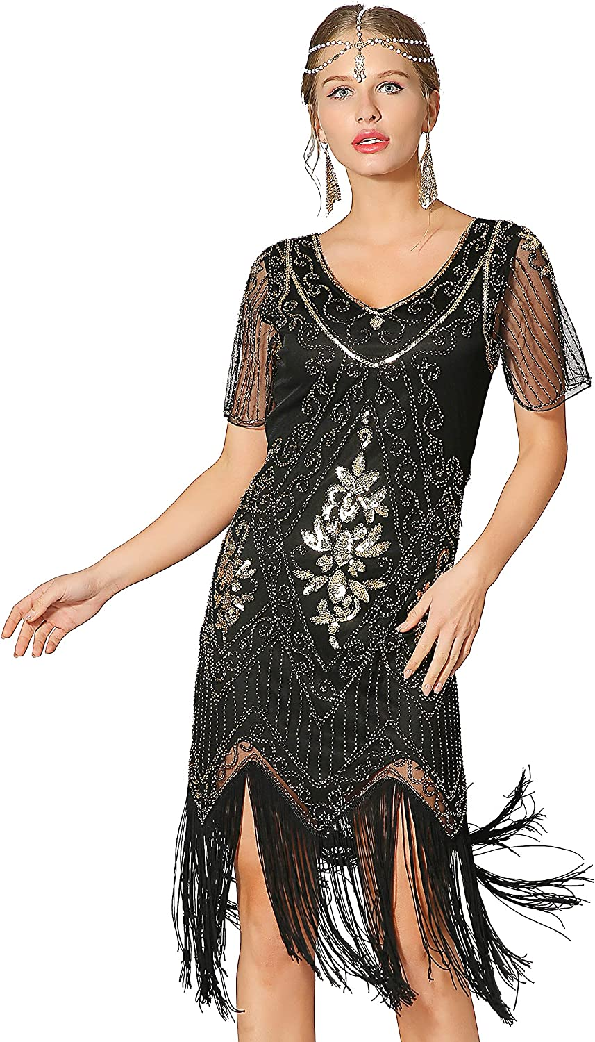 Metme Women's Roaring 1920s We OFFer at cheap prices Gatsby Be super welcome Short Dresses Sleeve Co Dress