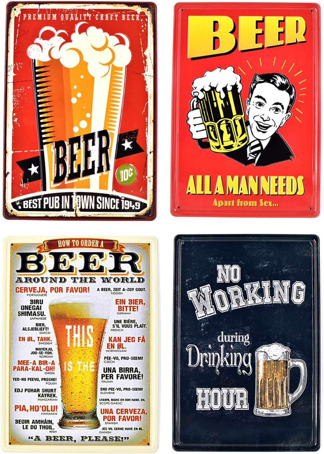 Quan Retro Wine Embossed Metal Tin Signs Bar Pub Home Decorative Plates Beer Wall Sticker Advertising Iron Painting 3020cm 4Pcs