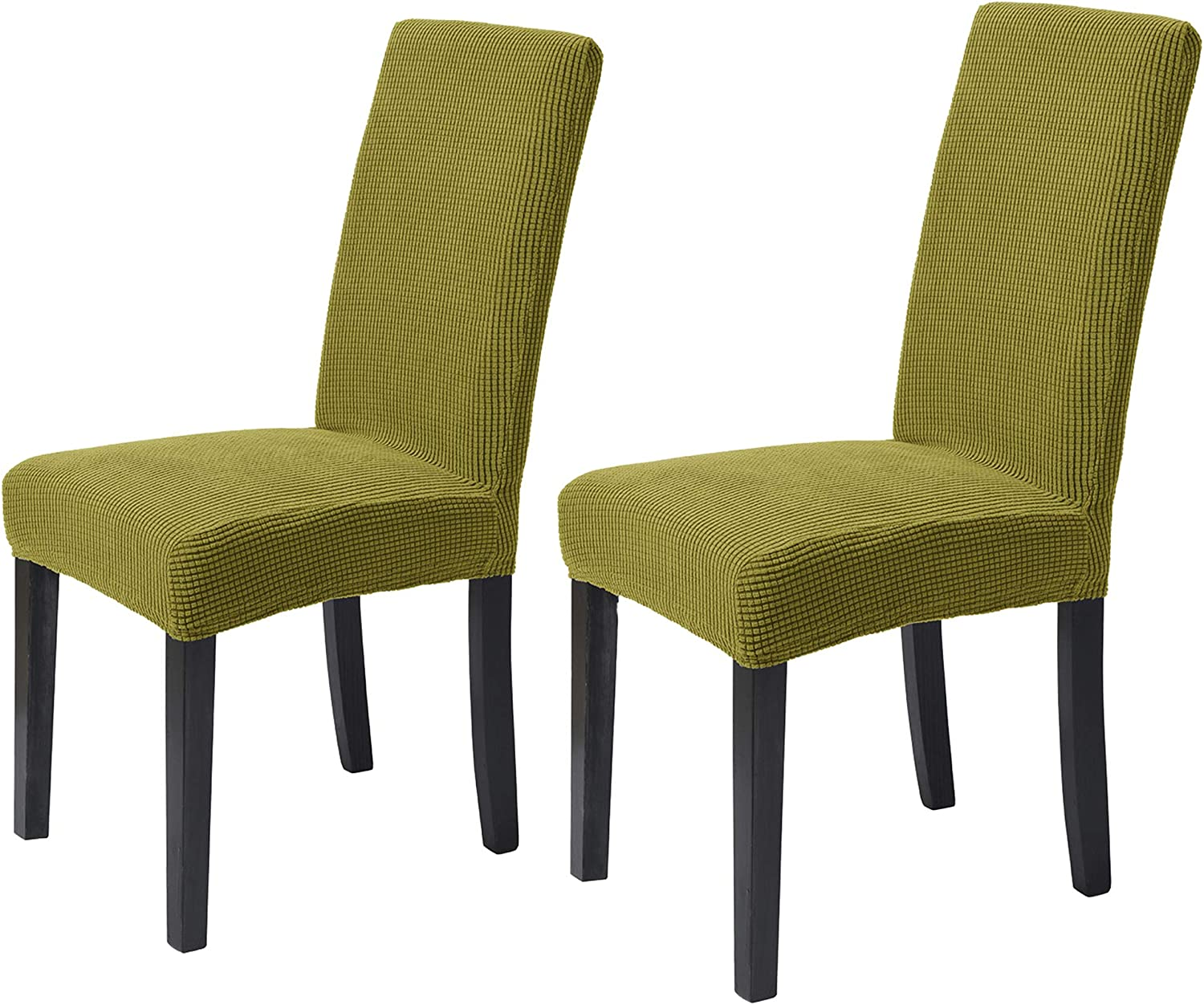 ManMengJi Dining Room Chair Covers, Washable Parsons Chair Slipcover Jacquard Kitchen Chair Slipcovers Stretch Chair Covers for Dining Room, Kitchen Set of 2 (Forest Green)