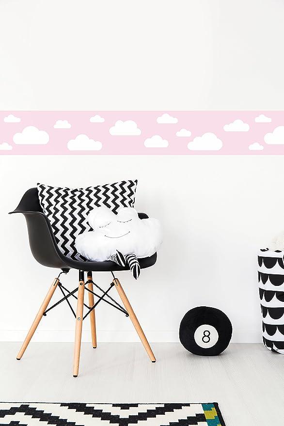 lovely label, cenefa autoadhesiva, 450 x 11,5 cm, diseño de nubas, fucsia