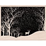 Hero Arts Wood Mounted Rubber Stamp 4.25-inch x 3.25-inch-Snowy Scene