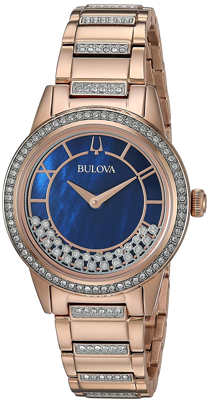 Bulova Womens Rose-Gold Turnstyle Crystal Accent Watch with Mother-of-Pearl Dial 98L247