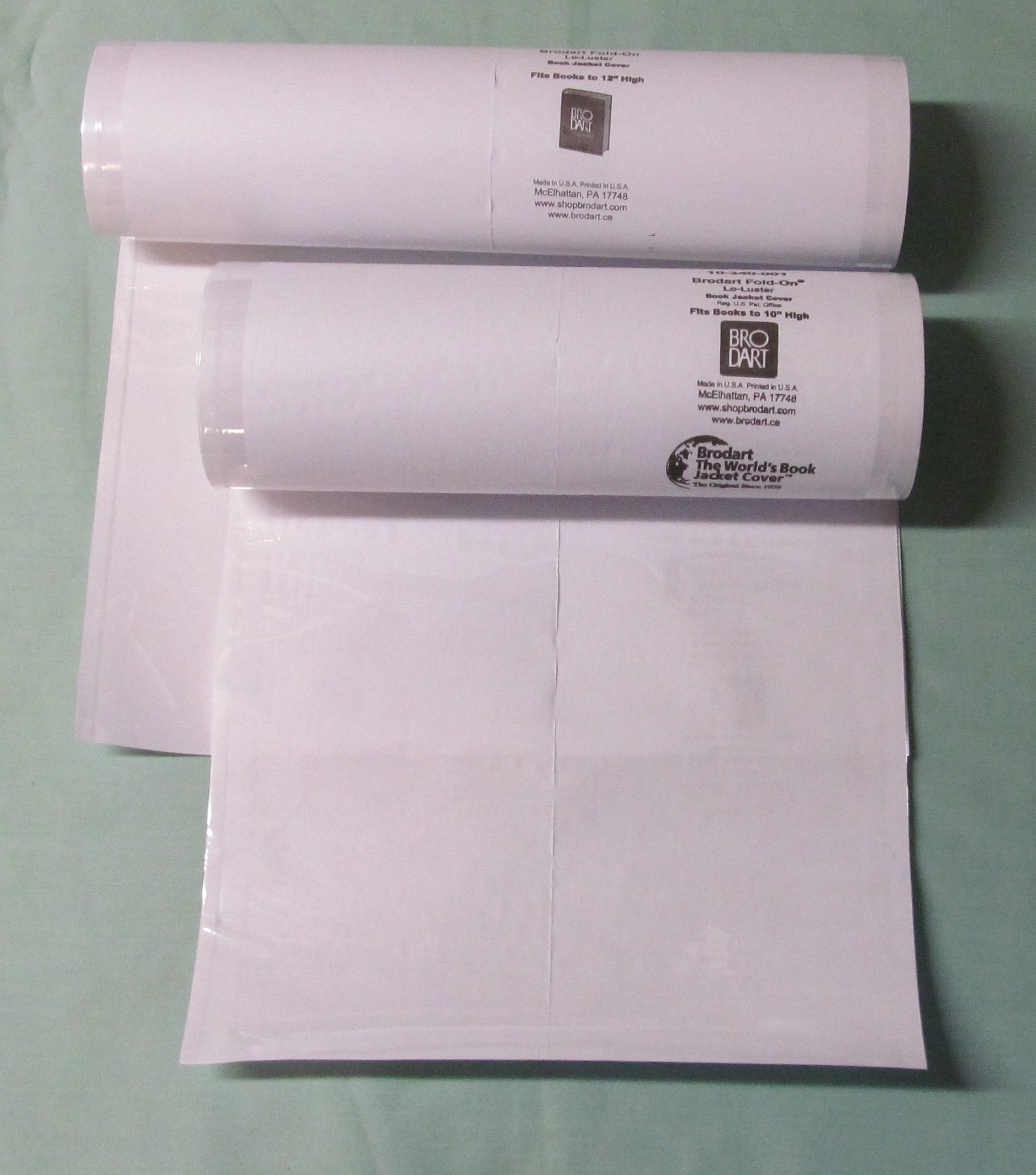 20 Yards Brodart Fold-On Book Jacket Covers COMBO PACK - TWO 10 YARD ROLLS (10 & 12 inch) -- Center-Loading, Clear Mylar, Adjustable