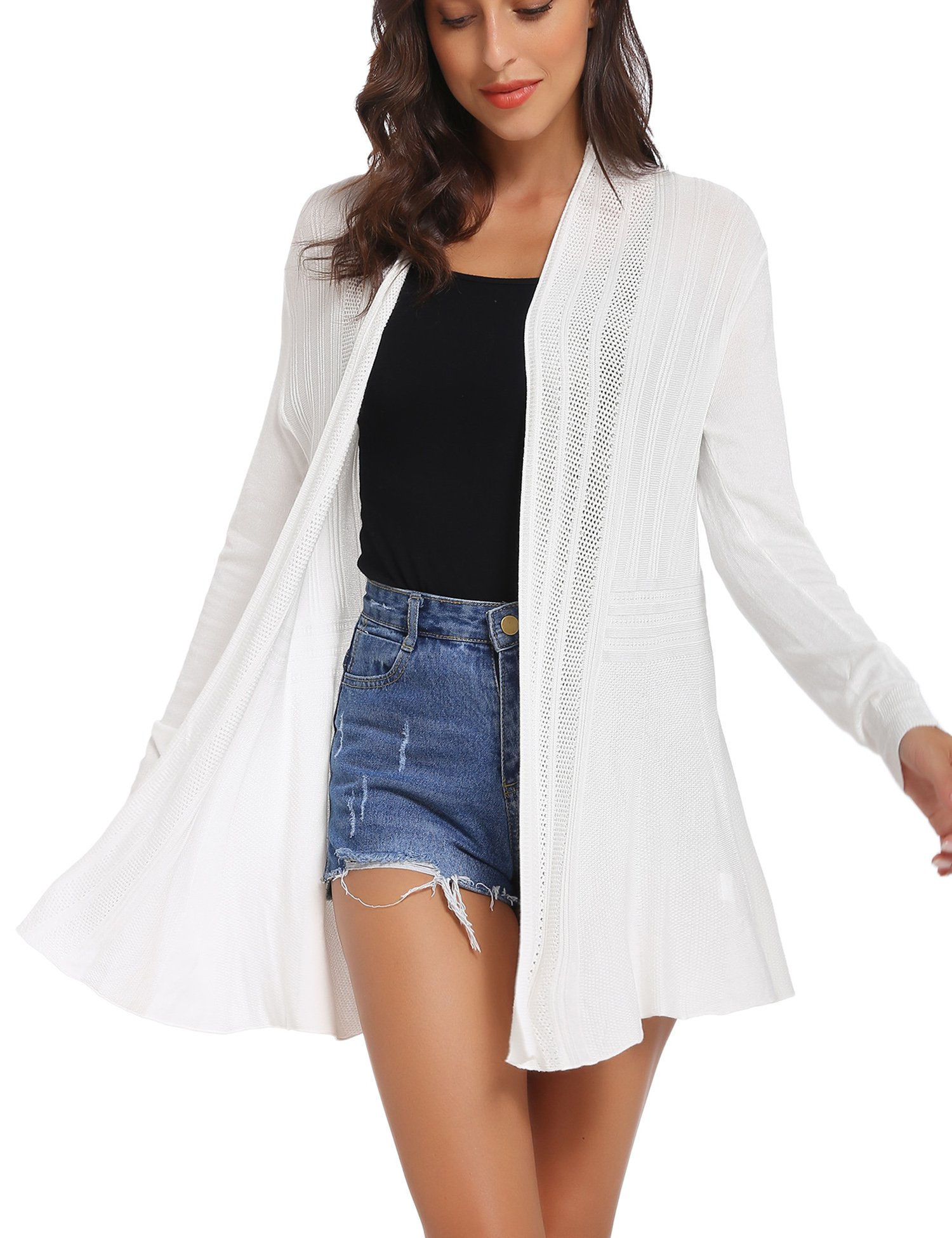 iClosam Womens Casual Long Sleeve Open Front Cardigan Sweater