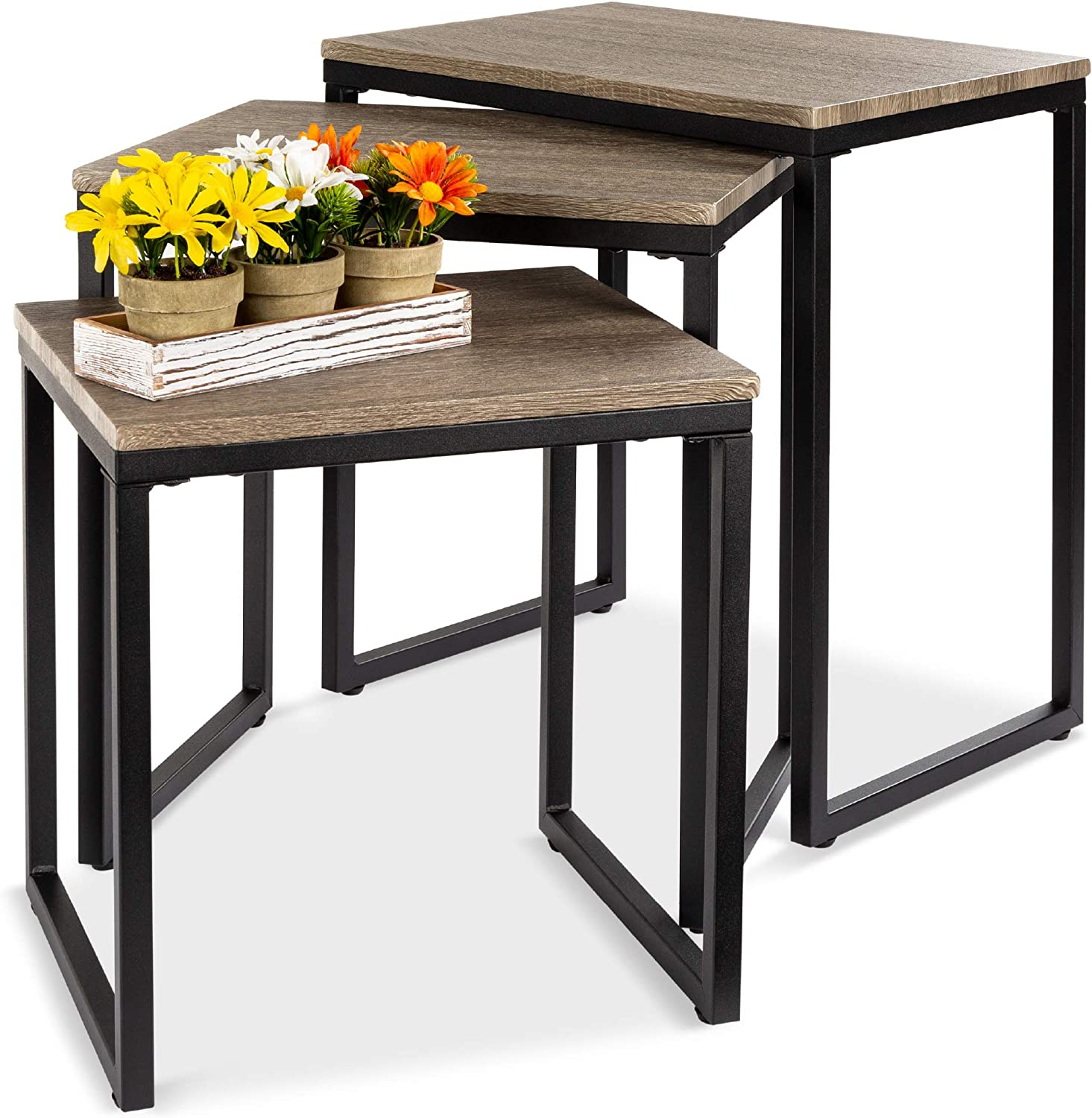 Amazon Com Best Choice Products 3 Piece Modern Stackable Nesting Coffee Accent End Table Furniture Set For Living Room Office W Water Resistant Tabletop Lightweight Design Brown Furniture Decor