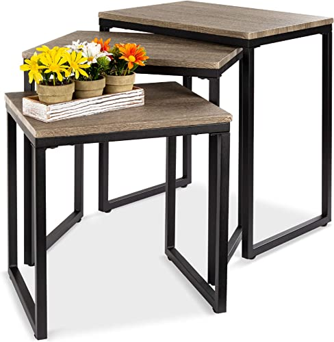 Best Choice Products 3-Piece Modern Stackable Nesting Coffee Accent End Table Living Room Furniture Set – Brown