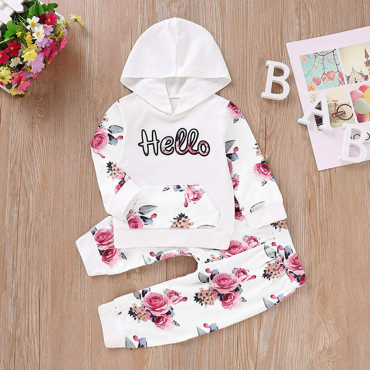 Toddler Baby Girls Floral Hello Hoodie Sweatshirt /& Pants Tracksuit Outfits Set
