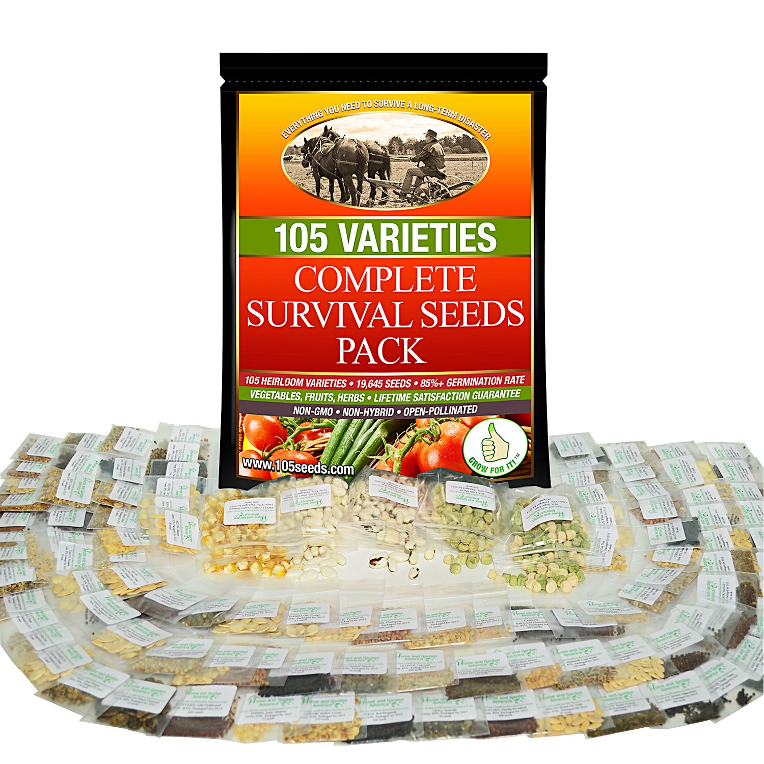 Non-GMO Heirloom Vegetable Seeds Survival Garden - 105 Varieties Cover All Hardiness Zones - Emergency Doomsday Supplies - Made In USA by Grow For It by Grow For It
