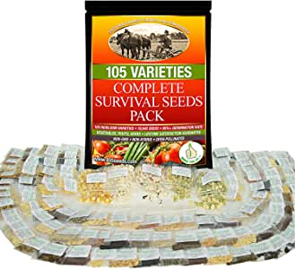 Non-GMO Heirloom Vegetable Seeds Survival Garden - 105 Varieties Cover All Hardiness Zones - Emergency Doomsday Supplies - Made in USA by Grow For It