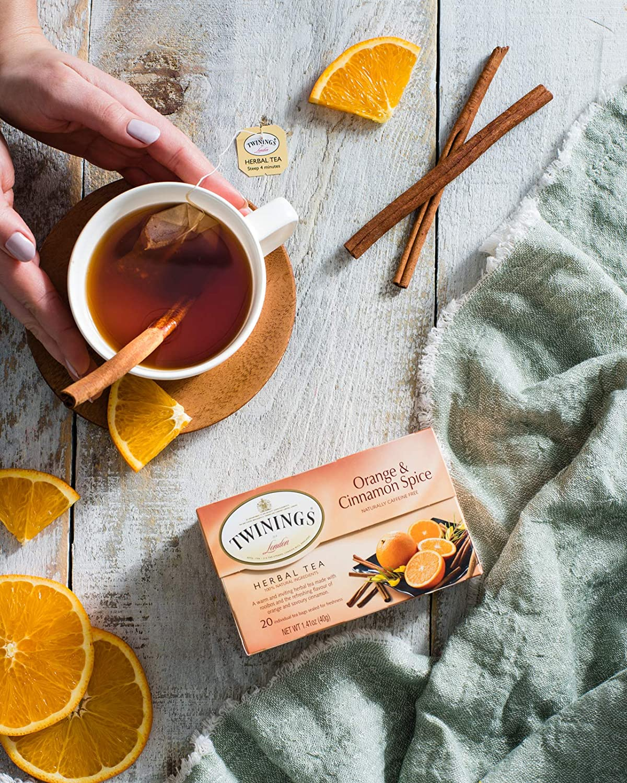 Twinings of London Orange & Cinnamon Spice Herbal Tea Bags, 20 Count (Pack of 6)
