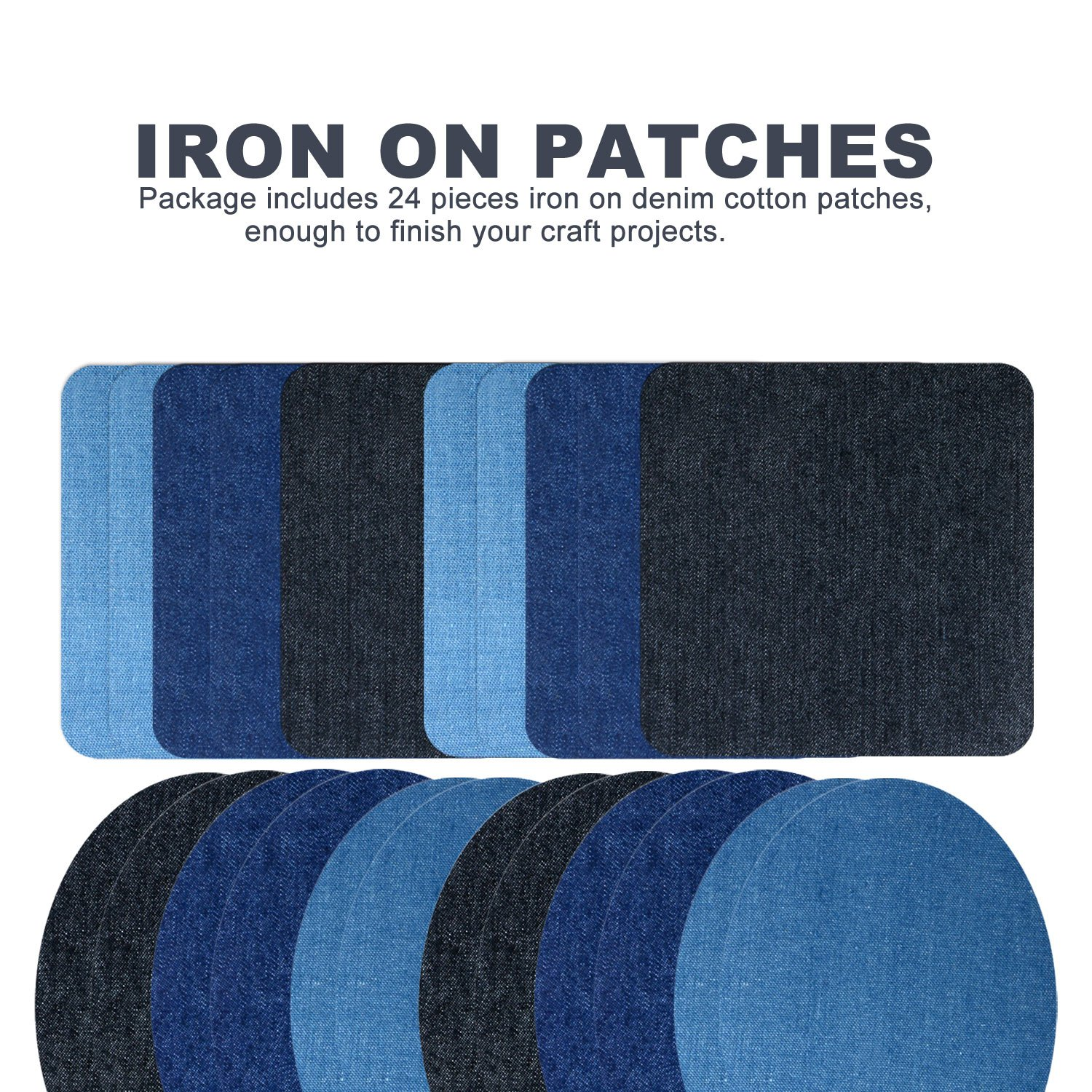 Iron On Patches, 24 Pieces Iron On Denim Cotton Patches Iron Repair Kit, 3 Sizes 3 Colors