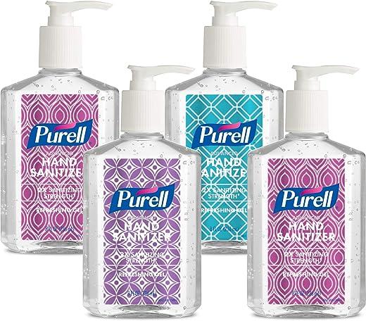 PURELL Advanced Hand Sanitizer Refreshing Gel Design Series, Clean Scent, 8 fl oz Pump Bottle (Pack of 4) - 9652-06-ECDECO