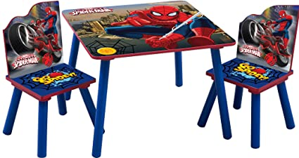 Incredible Spiderman Marvels Childrens Wooden Table And Two Chairs Set Kids Bedroom Playroom Andrewgaddart Wooden Chair Designs For Living Room Andrewgaddartcom