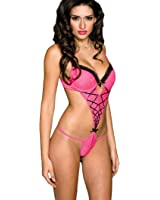 Sexy Pink Teddy Lingerie with Black Detail Criss Cross Straps Women Lingerie
