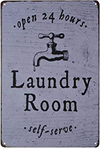 PXIYOU Open 24 Hours Laundry Room Self-Serve Vintage Distressed Metal Rustic Laundry Room Wall Decor Sign 8X12Inch