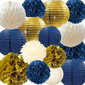 NICROLANDEE Navy Party Decorations Navy and Gold Glitter Paper Lanterns Tissue Pom Poms Hanging Honeycomb Ball for Baby Shower Birthday Wedding Bridal Shower Home Decor Valentines Decorations