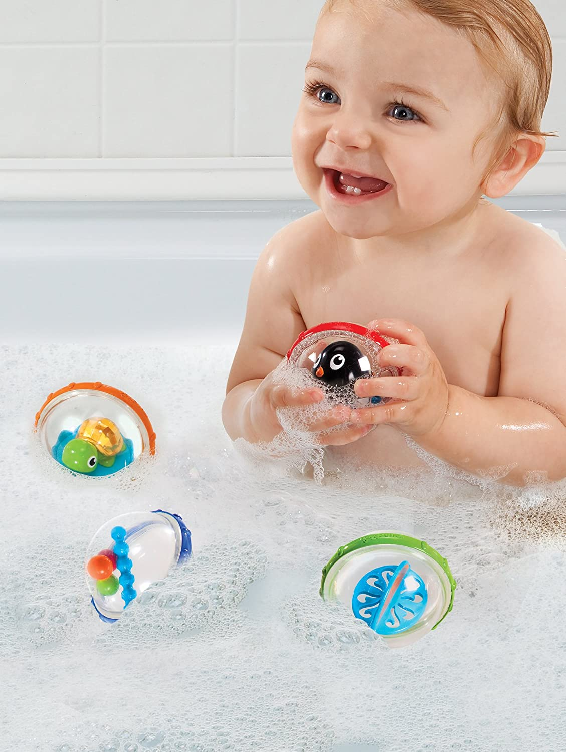 Amazon.com : Munchkin Float and Play Bubbles Bath Toy, 4 Count : Baby