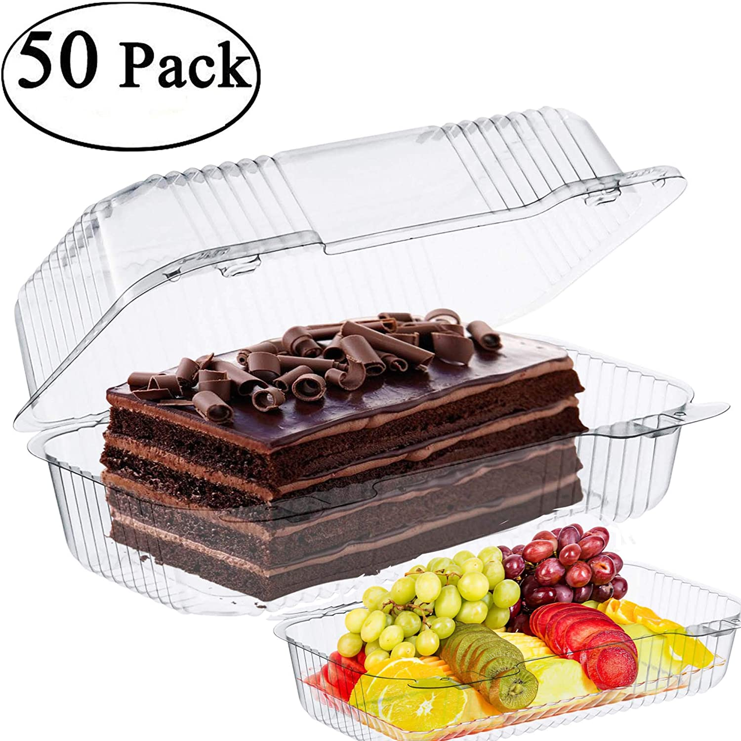 "The Bakers Pantry cake roll container Clear Hinged Lid disposable 9""x 5 great for Loaf Deep Cookies plastic containers disposable donut cookie is also good (Pack of 50)"