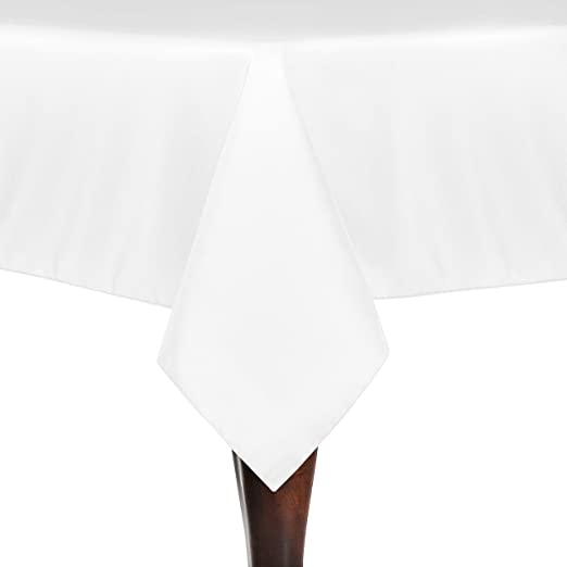 45 Inch Square, White TableLinensforLess Polyester Square Tablecloth