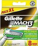 Ancienne Version Gillette Mach3 Sensitive Power Lames de RasoirPack de 8