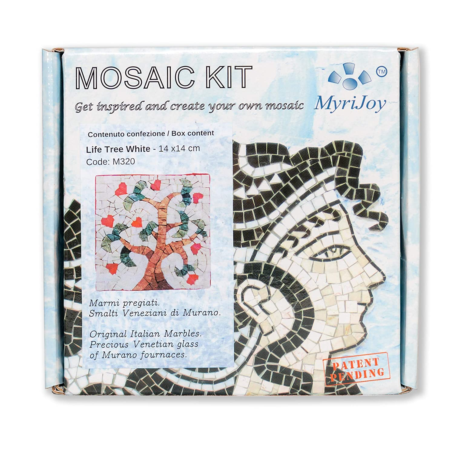 DIY Craft Kit Italian Marbles and Venice Murano glass tiles Mosaic Kit for Adults Creative Hobby Original Gift Idea White Tree of Life MyriJoy