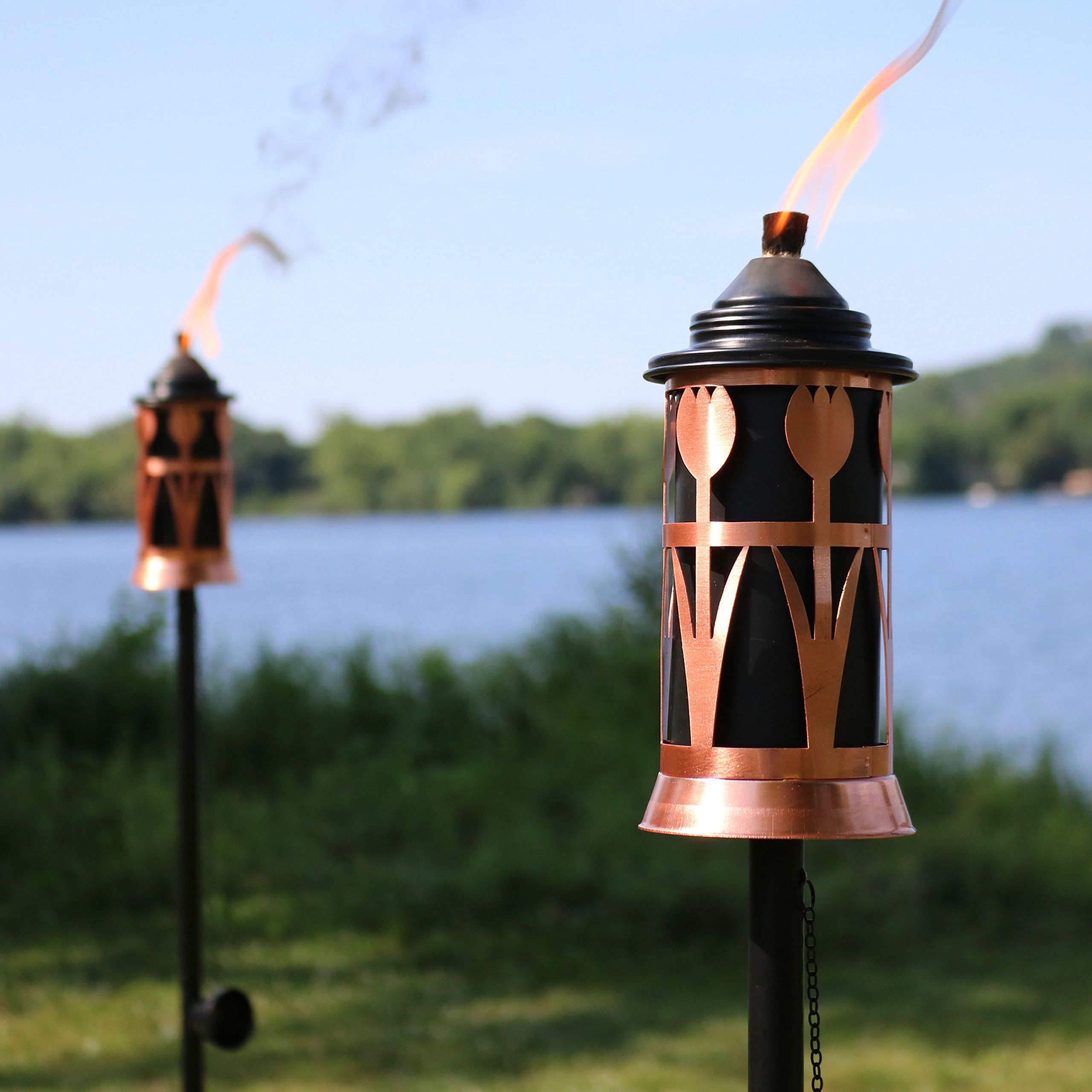 Sunnydaze Steel Outdoor Torch Jar with Tulip Design, Includes Snuffer, 22- to 64-Inch Adjustable Height, Set of 4, Copper/Black by Sunnydaze Decor (Image #4)