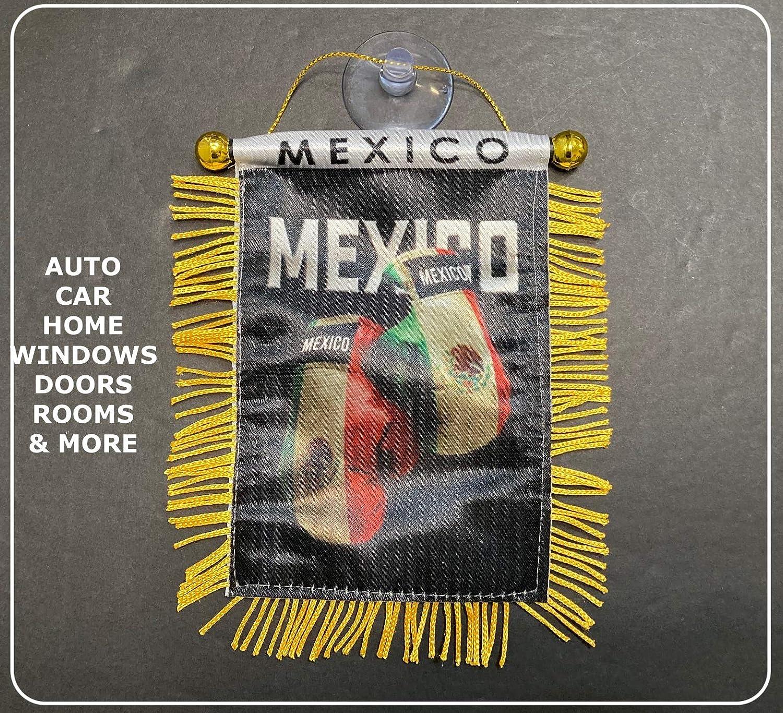 Banderas mexicanas de México para Interior de Coche, Espejo retrovisor o Palos de casa para Ventanas de Vidrio de Calidad rápida y fácil, pequeños banderines Colgantes para Coche: Amazon.es: Juguetes y juegos