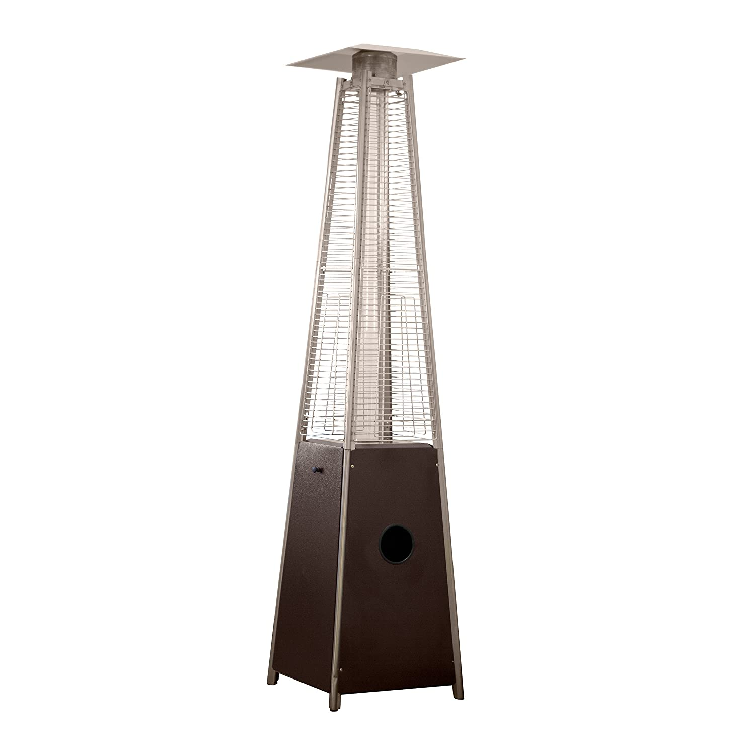 Hiland HLDSO1-WGTHG Pyramid Patio Propane Heater w Wheels, 87 Inches, Hammered Bronze