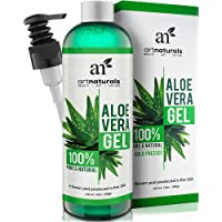 ArtNaturals Organic Aloe Vera Gel - (12 Fl Oz/355ml) - for Face, Hair and Body - 100% Pure Cold Pressed - for Sun Burn, Eczema, Bug or Insect Bites, Dry Damaged Aging skin, Razor Bumps and Acne