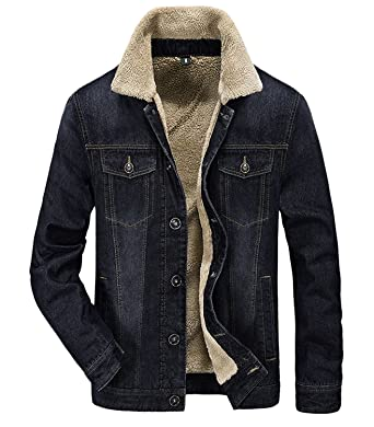 Men's Slim Fit Rugged Sherpa Cotton Lined Denim Trucker Jackets ...