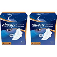 Always Infinity Overnight Size 4 Thin Night Time Pads with Flexi-Wings Flexible Wings and FlexFoam, Unscented, 40 Count. 2 Pack (Includes 80 Pads). Most Absorbent. Absorbs 10X.