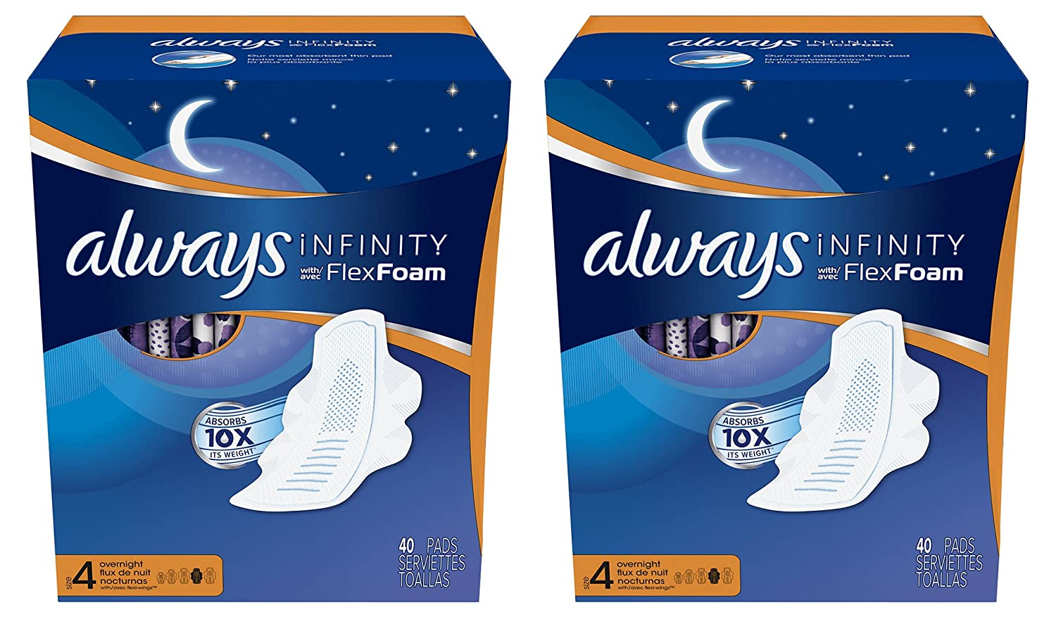 Always Infinity Overnight Size 4 Thin Night Time Pads with Flexi-Wings Flexible Wings and FlexFoam, Unscented, 40 Count. 2 Pack (Includes 80 Pads).