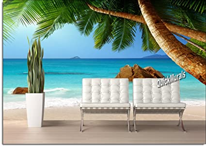 amazon com secluded beach peel stick canvas wall mural 10 1 2