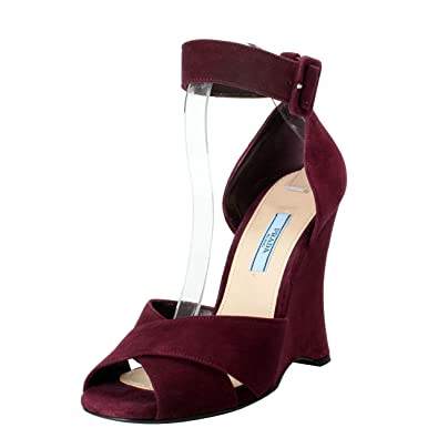 7a021fb3f63 Image Unavailable. Image not available for. Color  Prada Women s Deep  Purple Suede Ankle Strap Wedge Sandals ...
