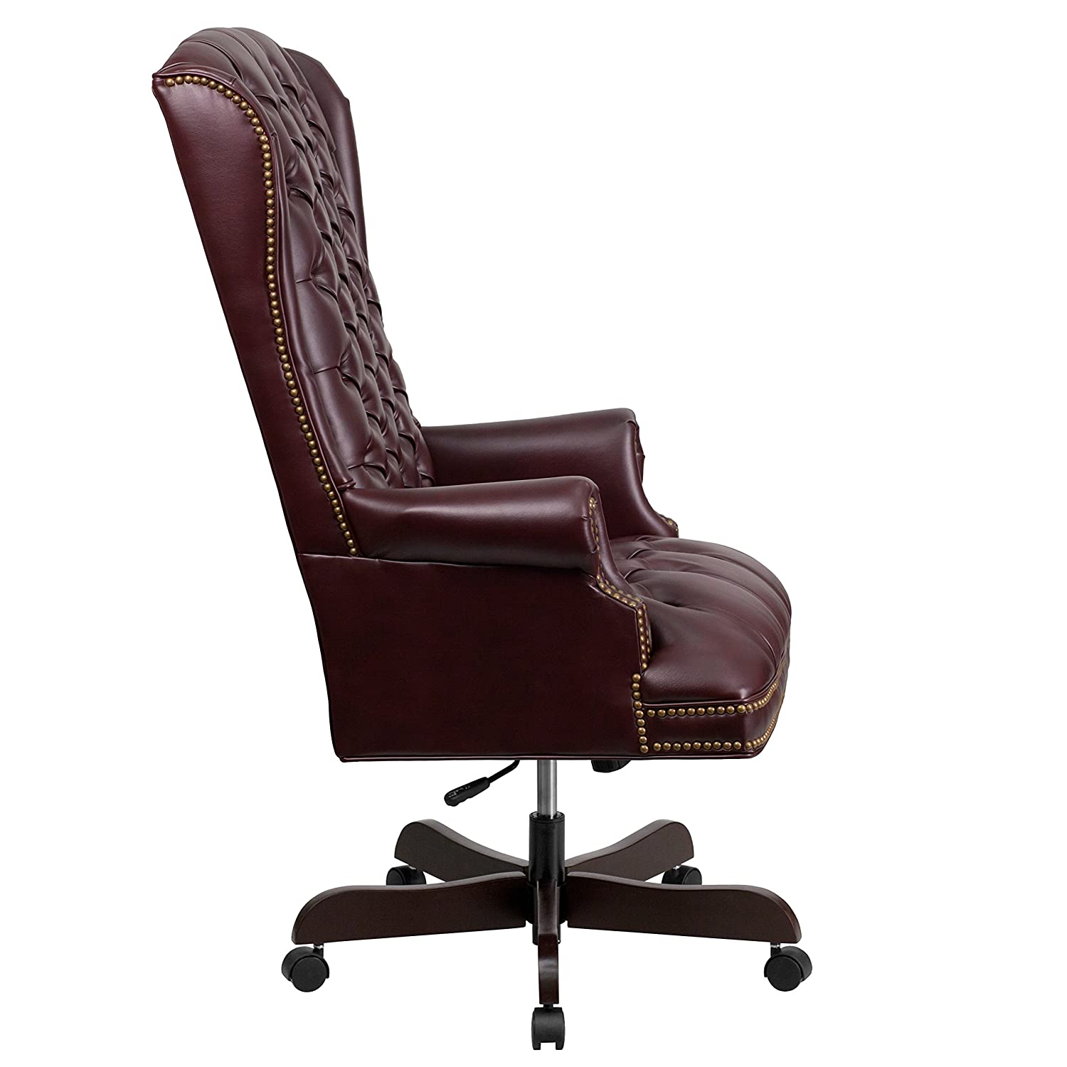 T Amazoncom Flash Furniture High Back Traditional Tufted Burgundy Leather  Executive Swivel Chair With Arms Kitchen U0026 Dining