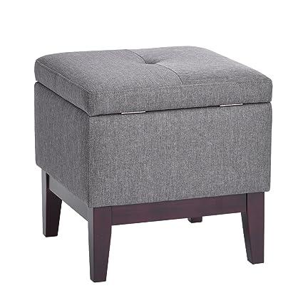 Super Amazon Com Furniturer Ottoman With Storage Tufted Wood Machost Co Dining Chair Design Ideas Machostcouk